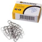 Скрепки BRAUBERG (БРАУБЕРГ), 28 мм, металлические, 100 шт., в картонной коробке