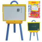 Доска для мела и магнитно-маркерная ПИФАГОР, 2-сторонняя, 45х60 см, на стенде, зеленая/белая