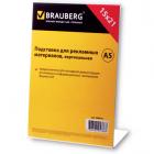 Подставка для рекламных материалов BRAUBERG (БРАУБЕРГ), А5, вертикальная, 150х210 мм, настольная