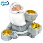 Подсвечник  Дед Мороз на 3 свечи (полирезина) 10см.