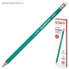Карандаш ч/г  пластик. Staff с ластиком НВ (зеленый корпус)